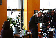 """Academy Award winning actress Helen Hunt directs a 60-second documentary-style commercial for Frito Lay's TrueNorth Snacks Brand telling the story of Lisa Nigro, a former Chicago police offer who runs The Inspiration Cafe, a nonprofit that provides restaurant-style meals and support services for the city's homeless on January 16, 2009 in Chicago. Nigro's story beat more than 2,000 submissions in Frito-Lay snack brand TrueNorth's search for the """"Most Inspiring TrueNorth Story."""" The spot debuted during the 2009 Academy Awards telecast. (For Frito Lay)"""
