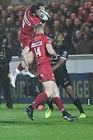 Rugby Union  - 2017 / 2018 European Champions Cup Pool 5. Llanelli Scarlets vs Bath<br /> <br /> Gareth Davies  of Llanelli Scarlets  leaps for the ball,in heavy rain  at Parc Y Scarlets.<br /> <br /> COLORSPORT/WINSTON BYNORTH