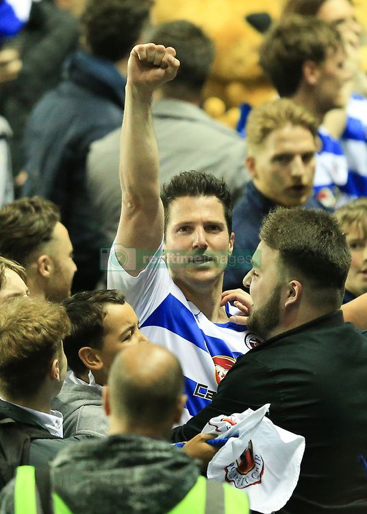 16 May 2017 - Sky Bet Championship - Play-off 2nd Leg - Reading v Fulham - Yann Kermorgant of Reading celebrates surrounded by fans - Photo: Marc Atkins / Offside.