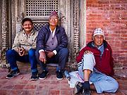 13 MARCH 2017 - PATAN, NEPAL: Newari men in Patan's Durbar Square.      PHOTO BY JACK KURTZ