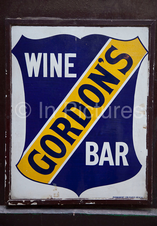 Sign for Gordon's Wine Bar on Villiers Street, London. This is the famous basement wine bar loved by many.