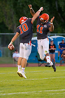 KELOWNA, CANADA - JULY 29: Conor Richard #10 and Shaun Robinson #11 of Okanagan Sun celebrate a touchdown against the Westshore Rebels on July 29, 2017 at the Apple Bowl in Kelowna, British Columbia, Canada.  (Photo by Marissa Baecker/Shoot the Breeze)  *** Local Caption ***