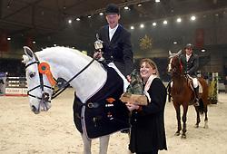 Geerink Peter-Larino + Jeanette Nijhog<br />KWPN hengstenkeuring 2003<br />Photo © Dirk Caremans