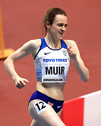 Great Britain's Laura Muir in action during the Women's 3000m final during day one of the 2018 IAAF Indoor World Championships at The Arena Birmingham, Birmingham.