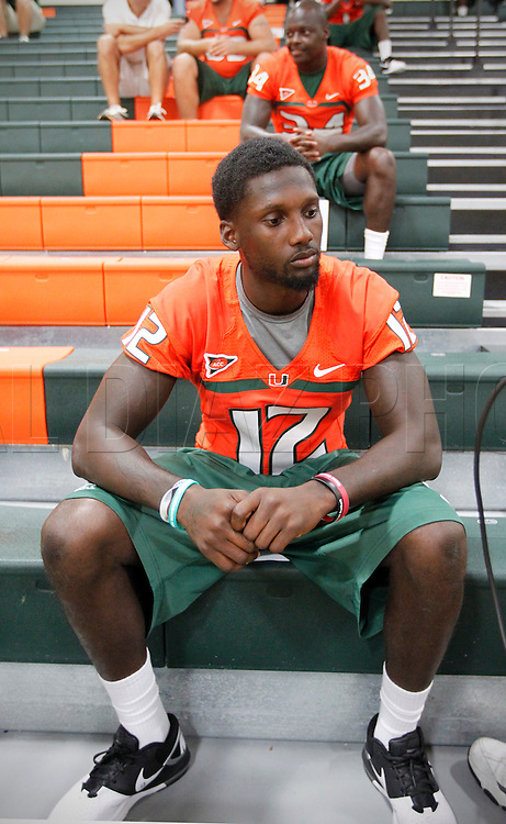 Jacory Harris at the end of a media interview session during Media Day for the University of Miami Football team on Campus in Coral Gables on August 27, 2011.