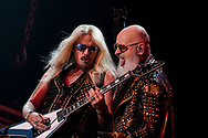 Judas Priest guitarist Richie Faulkner, left, and singer Rob Halford, right, perform as the band kicked off their 50th anniversary tour Sept. 8, 2021, at Santander Arena in Reading, Pennsylvania.