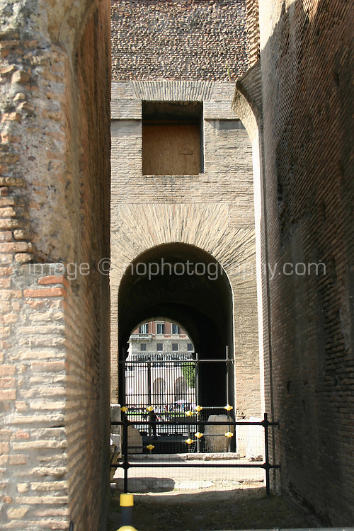 Inside the ancient roman monument the Colosseum, Rome, Italy.<br />