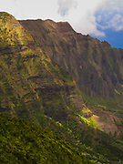 View over the stunning Kalalau Canyon, on the Na Pali coast of Kauai, Hawai'i, USA.