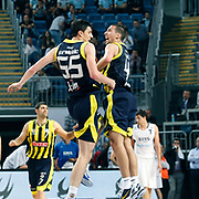 Fenerbahce's Emir PRELDZIC (L) and Roko Leni UKIC (R) during their Turkish Basketball Legague Play-Off semi final second match Efes Pilsen between Fenerbahce at the Sinan Erdem Arena in Istanbul Turkey on Friday 27 May 2011. Photo by TURKPIX