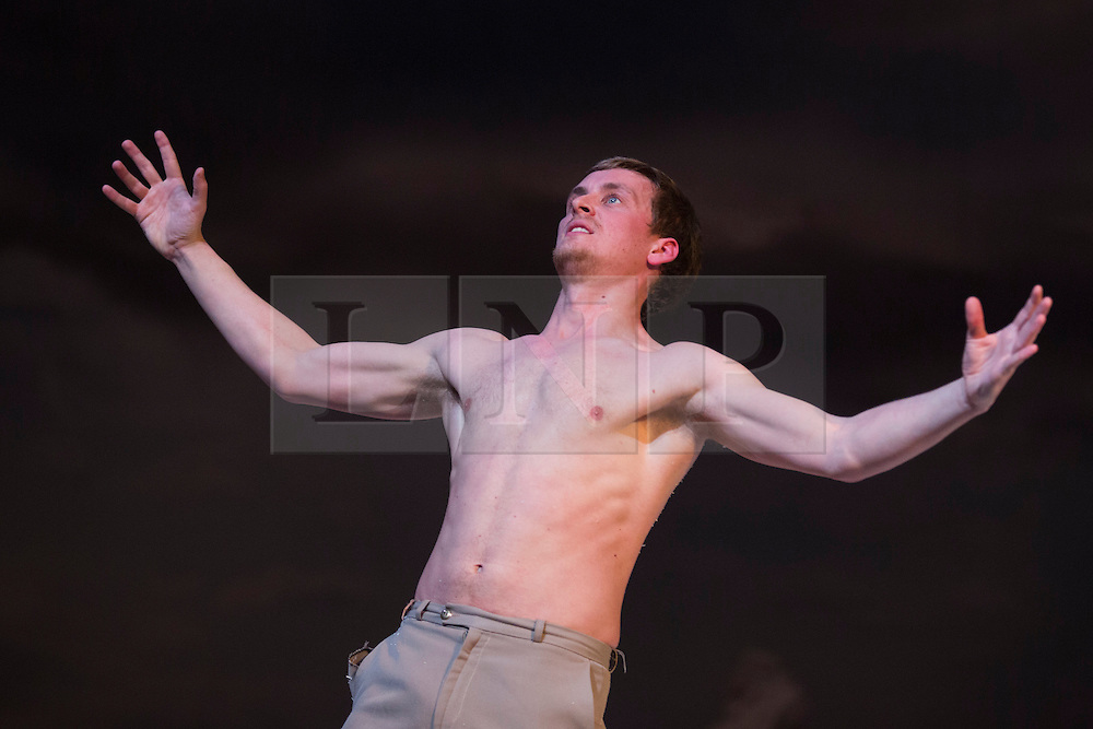 "© Licensed to London News Pictures. 27/01/2015. London, England. Pictured: Jos Baker performing. Belgian dance collective Peeping Tom presents their piece ""32 rue Vandenbranden"" at the Barbican Theatre in association with London International Mime Festival (LIMF) from 28 to 31 January 2015. Show was conceived and directed by Gabriela Carrizo and Franck Chartier with Seoljin Kim, Hun-Mok Jung, Marie Gyselbrecht, Jos Baker, Maria Carolina Vieira and Euridike De Beul performing. Photo credit: Bettina Strenske/LNP"