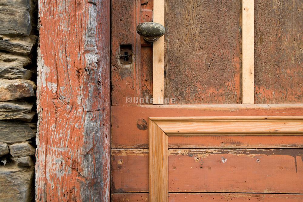 old rusty doorknob and keyhole