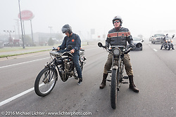 A pair of class-1, single-cylinder, single speed bikes. Dean Bordigioni (R) of CA on his 1914 Harley-Davidson next to Ciro Nisi of Italy at a traffic stop on 1912 Indian during the during the Motorcycle Cannonball Race of the Century. Stage-8 from Wichita, KS to Dodge City, KS. USA. Saturday September 17, 2016. Photography ©2016 Michael Lichter.