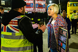 A pro-Remain campaigner argues with pro-Brexit campaigner James Goddard at Steve Bray's ongoing pro-remain protest at Old Palace Yard outside Parliament. Westminster, London, December 20 2018.