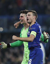 BRITAIN-LONDON-FOOTBALL-UEFA EUROPA LEAGUE-CHELSEA VS FRANKFURT.(190510) -- LONDON, May 10, 2019  Chelsea's Kepa Arrizabalaga (L) celebrates with Chelsea's Cesar Azpilicueta after winning the penalty shoot of the UEFA Europa League semi-final second leg match between Chelsea and Frankfurt in London, Britain on May 9, 2019.  FOR EDITORIAL USE ONLY. NOT FOR SALE FOR MARKETING OR ADVERTISING CAMPAIGNS. NO USE WITH UNAUTHORIZED AUDIO, VIDEO, DATA, FIXTURE LISTS, CLUBLEAGUE LOGOS OR ''LIVE'' SERVICES. ONLINE IN-MATCH USE LIMITED TO 45 IMAGES, NO VIDEO EMULATION. NO USE IN BETTING, GAMES OR SINGLE CLUBLEAGUEPLAYER PUBLICATIONS. (Credit Image: © Xinhua via ZUMA Wire)