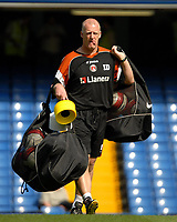 Photo: Ed Godden.<br />Chelsea v Charlton Athletic. The Barclays Premiership. 09/09/2006. Charlton Manager Iain Dowie carries the balls onto the pitch before the warm-up.