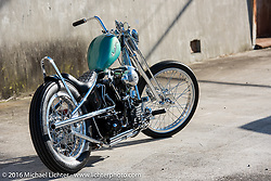 Cycle West's Hiromichi Nishiyama built rigid frame Harley-Davidson Knucklehead photographed after Mooneyes. Japan. December 8, 2016.  Photography ©2016 Michael Lichter.