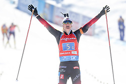Roeiseland Marte Olsbu of Norway celebrates during the IBU World Championships Biathlon 4x6km Relay Women competition on February 20, 2021 in Pokljuka, Slovenia. Photo by Vid Ponikvar / Sportida