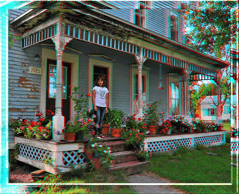 Koko on the Porch Anaglyph
