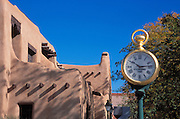 The Spitz Clock in front of the Museum of New Mexico, Old Town Santa Fe, New Mexico