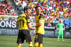 July 22, 2018 - Charlotte, North Carolina, USA - Borussia Dortmund midfielder Mario Gotze (10) and Borussia Dortmund Sergio Gomez during an International Champions Cup match at Bank of America Stadium in Charlotte, NC.  Borussia Dortmund of the German Bundesliga beat Liverpool of the English Premier League 3 to 1. (Credit Image: © Jason Walle via ZUMA Wire)