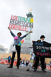 Atmosphere during a protest march against the government's labour law reform, in Paris, France on September 15, 2016. Photo by Alain Apaydin/ABACAPRESS.COM