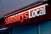 Sign for supermarket chain Sainsbury's Local.