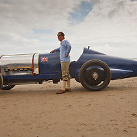 Sunbeam Blue Bird (1925), owned by the National Motor Museum at Beaulieu, here at Pendine Sands, 21 July 2015, commemorating the 90th anniversary of Sir Malcolm Campbells new world landspeed record where he achieved 150miles/hr in his 350hp Sunbeam Blue Bird