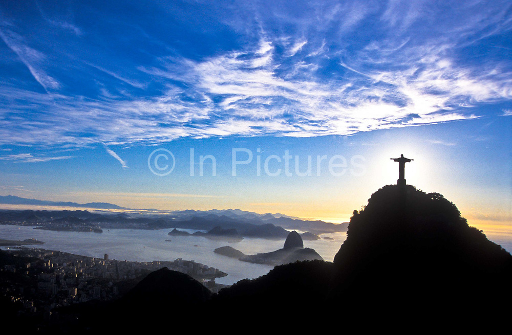 Early morning skyline of Rio de Janeiro, the Corcovado, Christ and the Guanabara bay, Brazil