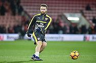 Arsenal Defender, Shkodran Mustafi (20) warming up during the Premier League match between Bournemouth and Arsenal at the Vitality Stadium, Bournemouth, England on 3 January 2017. Photo by Adam Rivers.