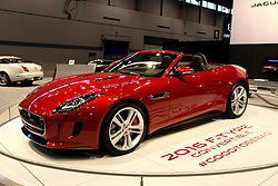 12 February 2015:  2016 JAGUAR F-TYPE: A new star in the Jaguar galaxy is the 2016 Jaguar F-Type Coupe and Convertible, with both on display at the 2015 Chicago Auto Show. The '16 Jaguar F-Type extends its performance and dynamic capability with instinctive all-wheel drive (AWD). For 2016, the F-Type model range consist of: F-Type (340-hp, rear wheel drive with automatic or manual), F-Type S (380-hp automatic with RWD or AWD, or manual with rear-wheel drive), and F-Type R (550-hp automatic with AWD). Engines can be matched with an eight-speed automatic transmission for shift speed, comfort and refinement, or for a select group of enthusiasts, a six-speed manual transmission for the V-6 and rear-wheel drive (RWD) configuration. The car features a short-throw gear lever with a travel of only 1.77-inches (45mm), closely-spaced ratios, and pedals well placed for heel-and-toe changes. Transmitting the V-8's 502 lb-ft of torque to the road though all wheels helps the R models to accelerate from 0-to-60 mph in just 3.9 seconds on the way to a maximum track speed of 186mph. Its 1+1 cockpit configuration wraps around the driver, sitting low in the heart of the F-TYPE, close to the center of gravity. Now standard is the top-spec 770W Meridian surround sound audio system, SiriusXM Satellite Radio, Jaguar Smart Key Keyless entry and 14-way fully power-adjustable seats.  Coupe models also receive the panoramic glass roof as standard, adding a tremendous amount of light to the cabin.  R Coupe models receive a power tailgate as standard. On S models standard equipment now includes Configurable Dynamic Mode, a flat-bottomed racing-style steering wheel and the driver-selectable Switchable Active Exhaust. Luggage room without the spare is 11-cu.ft., and seven-cu.ft. with the spare tire.<br /> <br /> First staged in 1901, the Chicago Auto Show is the largest auto show in North America and has been held more times than any other auto exposition on the continent. The 2015 show marks the 107th edi