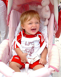 Athens, Greece - Wednesday, May 23, 2007: Liverpool's fan, Brook Seilds aged 1, celebrating in Syntagma Square ahead of the UEFA Champions League Final against AC Milan. (Pic by Jason Roberts/Propaganda)