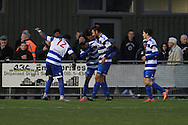 Bradley Bubb celebrates his goal during the FA Trophy match between Oxford City and Cheltenham Town at Court Place Farm, Oxford, United Kingdom on 16 January 2016. Photo by Antony Thompson.