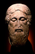 GREECE, HISTORIC ART AND ARTIFACTS Sculpture; a Roman copy of a Greek Bust of Homer from 450 B.C. in the National  Museum in Athens