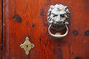Lion door knocker, Palma de Mallorca, Balearic Islands, Spain