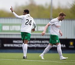 Hibernian's Dominique Malonga celebrates after scoring their third goal.<br /> Falkirk 0 v 3 Hibernian, Scottish Championship game played at The Falkirk Stadium 2/5/2015.