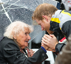 Prince Harry meets Daphne Dunne on a walkabout on Circular Quay in Sydney, Australia, during a day of events to mark the official launch of the Invictus Games Sydney 2018.