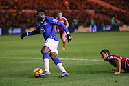 Everton forward Romelu Lukaku   leaves Middlesbrough defender Daniel Ayala in his wake during the Capital One Cup match between Middlesbrough and Everton at the Riverside Stadium, Middlesbrough, England on 1 December 2015. Photo by Simon Davies.