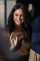 """London, UK. 7 January, 2020. The Duchess of Sussex leaves Canada House in Trafalgar Square after visiting with the Duke of Sussex to thank the Canadian High Commissioner for the """"warm hospitality"""" and support received by them during a six-week sabbatical in Canada over Thanksgiving and Christmas."""