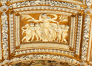 Detail of the Scala d'Oro  in the Doge's Palace, Venice. Built in Venetian Gothic style the palace was the residence of the Doge of Venice (the supreme authority of the rublic of Venice). It is now open as a museum.
