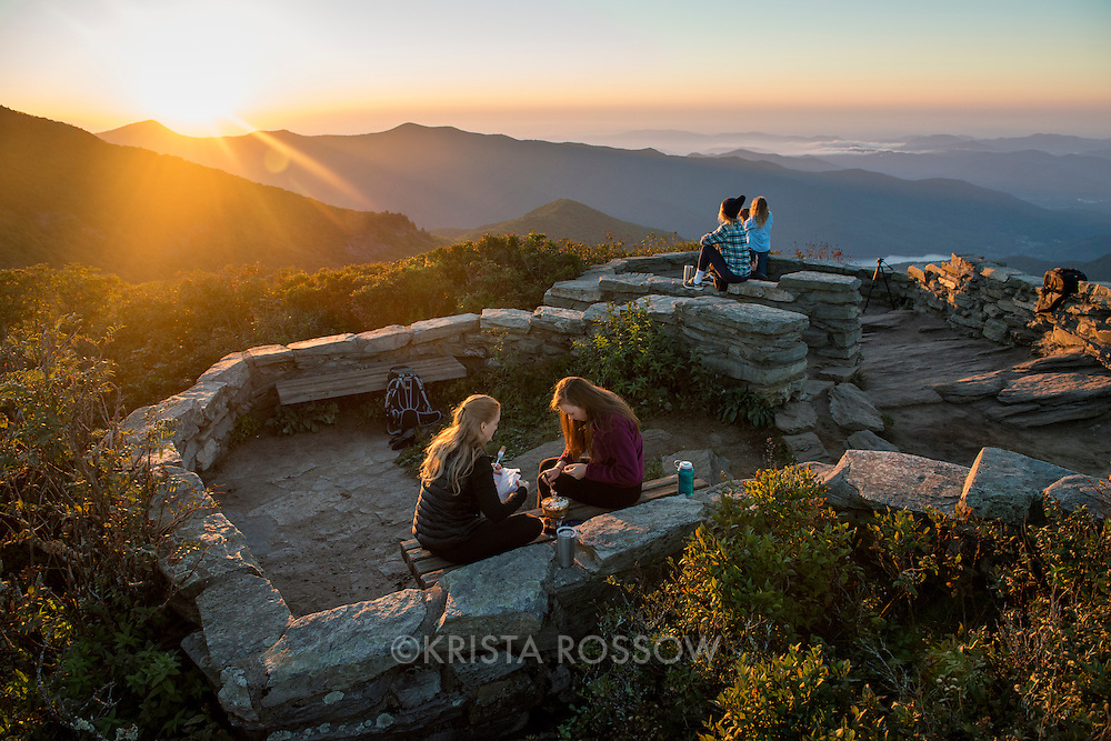 Sunrise at the top of Craggy Pinnacle Trail along the Blue Ridge Parkway north of Asheville, North Carolina.