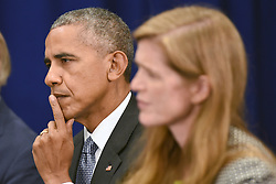 (L-R) U.S. President Barack Obama and Samantha Power, United States Ambassador to the United Nations, attend a bilateral meeting with Prime Minister Haider al-Abadi of Iraq at the Lotte New York Palace Hotel in New York City, NY, USA, on September 19, 2016. Photo by Anthony Behar/Pool/ABACAPRESS.COM