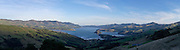 Panoramic view of Akaroa Harbor on the Banks Peninsula, near Christchurch, Canterbury, New Zealand.