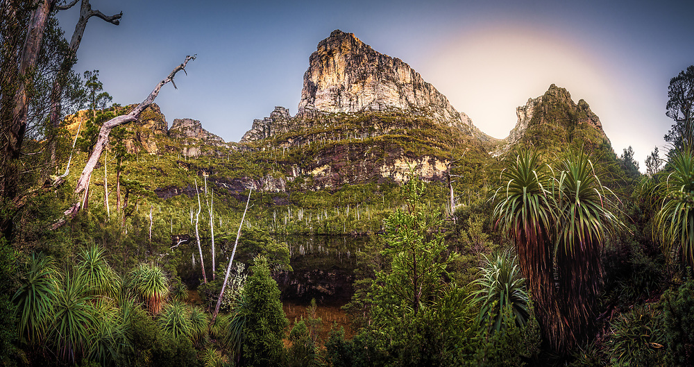 Franchmens cap and Lake Tahune at sunrise. Tasmania.