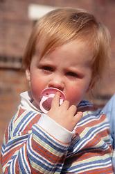 Portrait of toddler sucking on dummy,