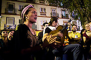Spontaneous flamenco performance in a neighborhood plaza in the streets of Sevilla, Andalusia, Spain.