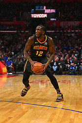 January 29, 2019 - Los Angeles, CA, U.S. - LOS ANGELES, CA - JANUARY 28: Atlanta Hawks Forward Taurean Prince (12) looks to attack the basket during a NBA game between the Atlanta Hawks and the Los Angeles Clippers on January 28, 2019 at STAPLES Center in Los Angeles, CA. (Photo by Brian Rothmuller/Icon Sportswire) (Credit Image: © Brian Rothmuller/Icon SMI via ZUMA Press)