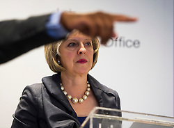© Licensed to London News Pictures. 23/07/2015. London, UK. British home Secretary THERESA MAY during a Q&A session after delivering a speech on the relationship between police and the community at Brixton Recreation Centre in Brixton, south London.  Photo credit: Ben Cawthra/LNP