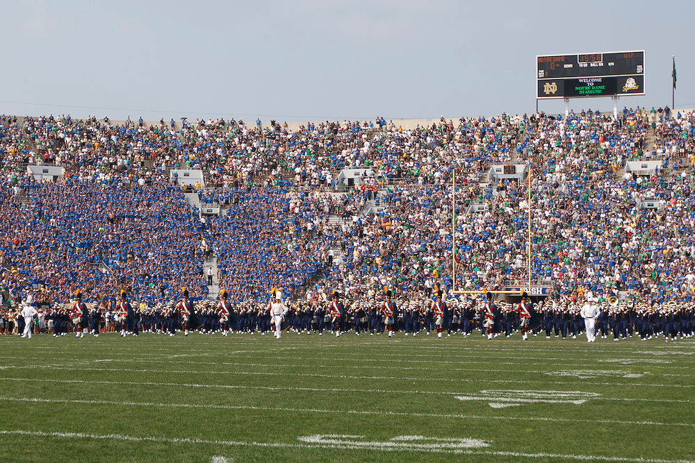 The Notre Dame band performs during pregame of NCAA football game between Notre Dame and South Florida.  The South Florida Bulls defeated the Notre Dame Fighting Irish 23-20 in game at Notre Dame Stadium in South Bend, Indiana.
