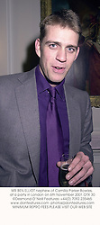 MR BEN ELLIOT nephew of Camilla Parker Bowles, at a party in London on 6th November 2001.OTX 30