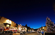 """SHOT 3/15/10 7:58:03 PM - Elk Avenue at night in Crested Butte, Co. Elk Avenue is the main street in Crested Butte and is home to many of the town's restaurants and bars as well as a main thoroughfare through town. Crested Butte is a Home Rule Municipality in Gunnison County, Colorado, United States. A former coal mining town now called """"the last great Colorado ski town"""", Crested Butte is a destination for skiing, mountain biking, and a variety of other outdoor activities. .(Photo by Marc Piscotty / © 2010)"""